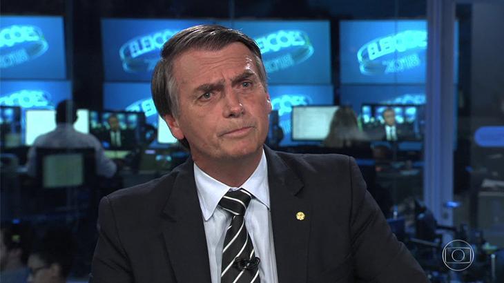 Jair Bolsonaro sendo entrevistado no Jornal Nacionalscurso