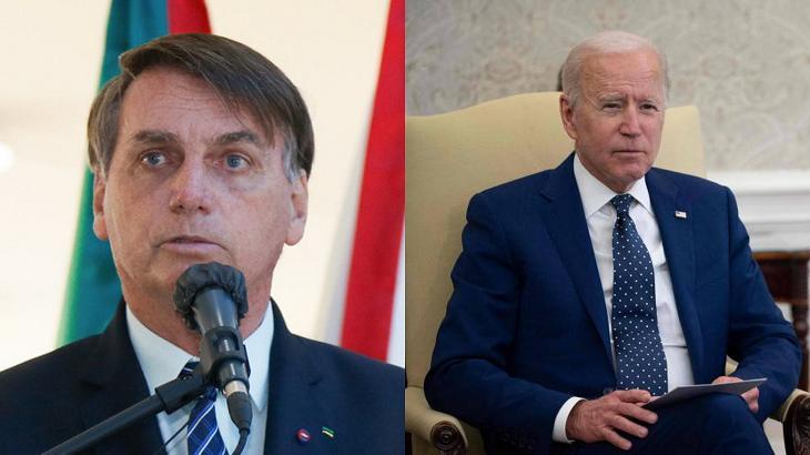 Jair Bolsonaro (à esquerda) e Joe Biden (à direita) em foto montagem
