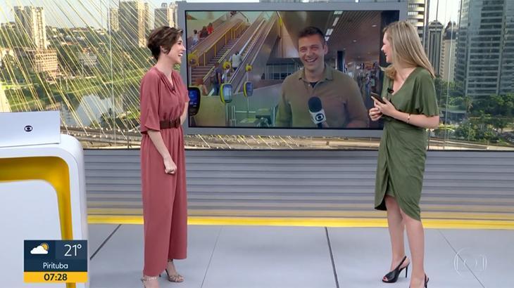 Gloria Vanique volta de férias e cai na gargalhada com gafe de repórter na Globo