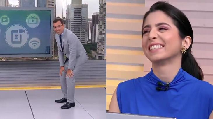 Rodrigo Bocardi tira sarro da altura da colega Cinthia Toledo