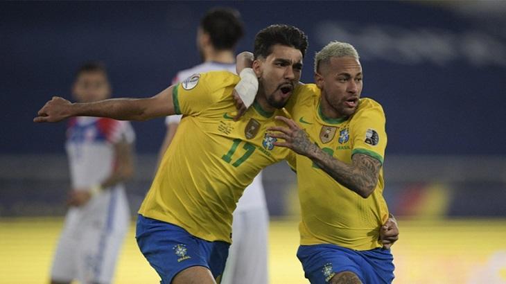 Lucas Paquetá comemorando o gol do Brasil