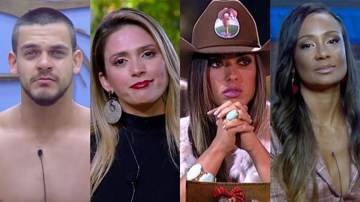 Caique Aguiar, Nicole Bahls, Drika Marinho e Nadja Pessoa em discussão fora do reality A Fazenda 11