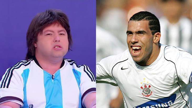 Cabrito Teves, personagem de Alexandre Porpetone, e Carlitos Tevez, ex-atacante do Corinthians