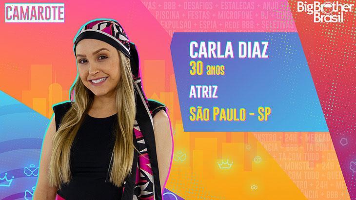 A atriz Carla Diaz nasceu na cidade de São Paulo e tem 30 anos