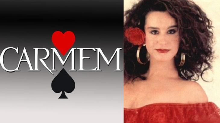 Logotipo da novela Carmem e Lucélia Santos em foto montagem