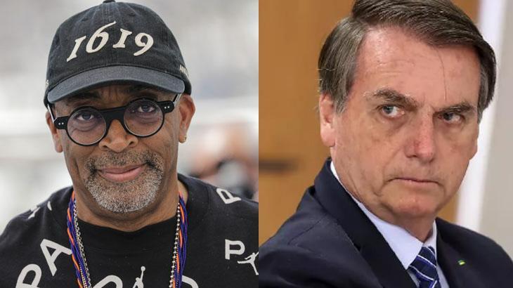 Spike Lee posado para foto; Jair Bolsonaro sério