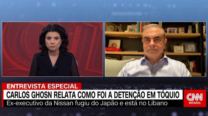 Raquel Landim entrevista Carlos Ghosn durante programa