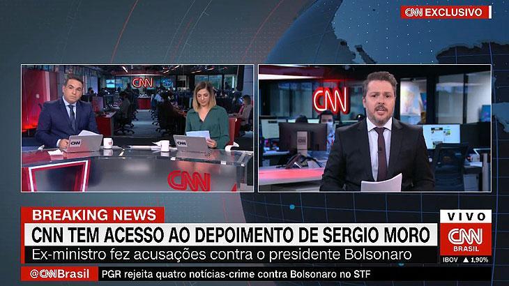 CNN fura GloboNews e divulga depoimento de Sergio Moro