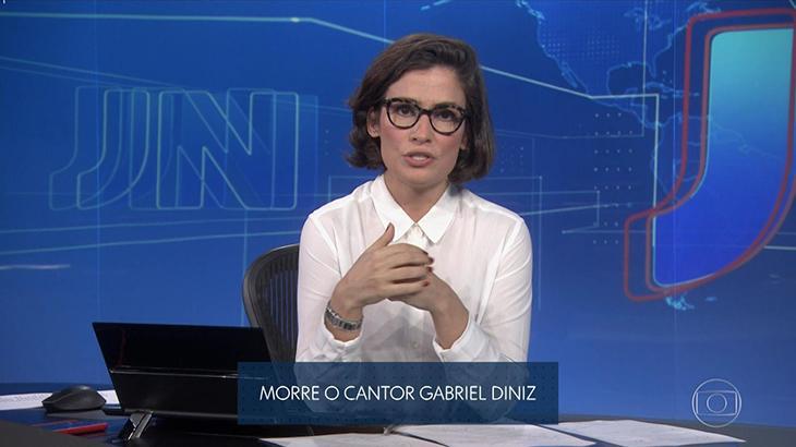 Renata Vasconcellos em transmissão da Globo na tarde desta segunda-feira (27) - Reprodução/Globo
