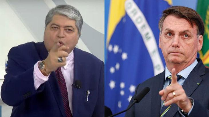 Datena aponta o dedo durante programa; Jair Bolsonaro levantando o dedo