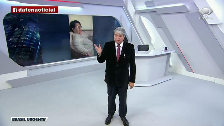 José Luiz Datena exibe foto da sogra, Alzira, que morreu nesta quinta-feira (Foto: Reprodução/Band)