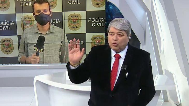 José Luiz Datena dispensa o repórter Lucas Martins no Brasil Urgente - Foto: Reprodução/Band