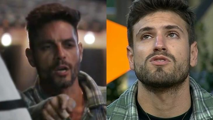 Diego Grossi e Guilherme Leão durante o reality show A Fazenda 2019 (Reprodução/Montagem)