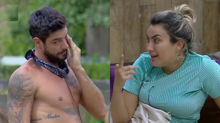 Diego Grossi e Thayse Teixeira discutiram durante o reality show A Fazenda 2019 (Reprodução/Montagem)