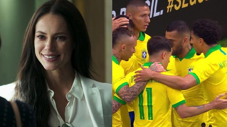 Novela e futebol foram exibidos mais cedo na Globo - Montagem/Reprodução/Globo
