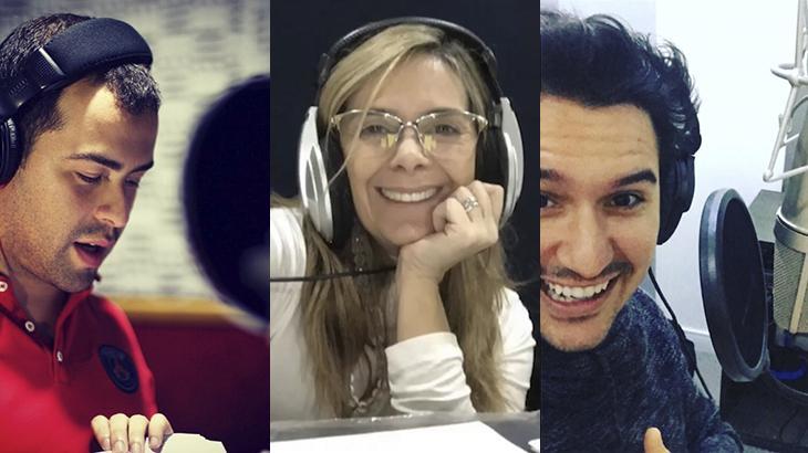 Os dubladores Diego Lima, Angélica Santos e Gabriel Ebling, participantes da campanha