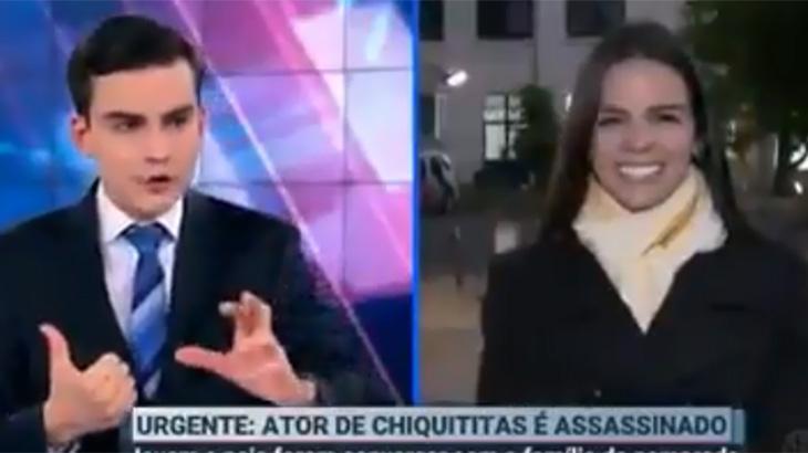 Dudu Camargo dá bronca em repórter que aparece sorrindo para falar de ator assassinado