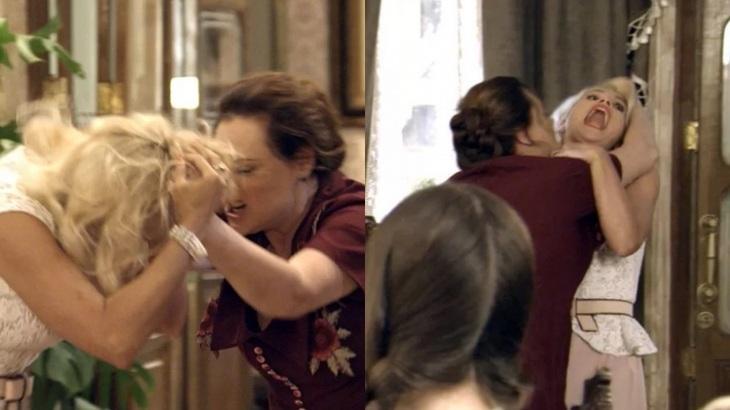 Em Êta Mundo Bom, Cunegundes pega Sandra pelos cabelos após ser desmascarada pela vilã - Fotos: Reprodução/Globo