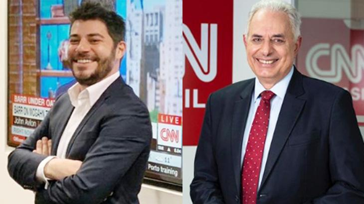 Evaristo Costa e William Waack sorrindo