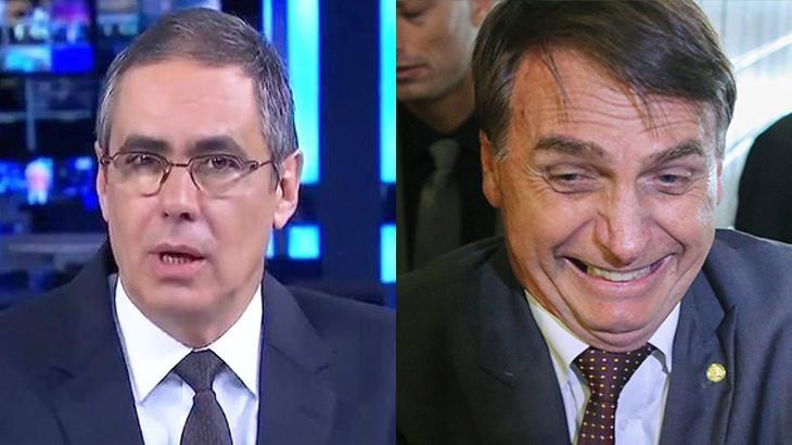 Fábio Pannunzio na bancada e foto de Bolsonaro rindo do lado