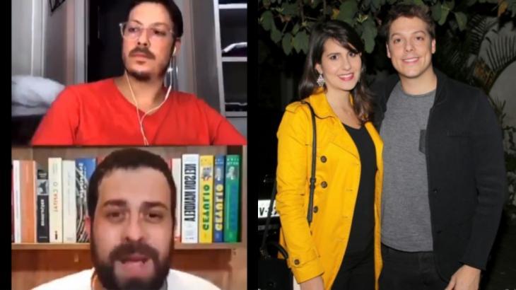 Esposa de Fábio Porchat, Nataly Mega apareceu pelada, de toalha, ao fundo de live com o político Guilherme Boulos - Fotos: Reprodução