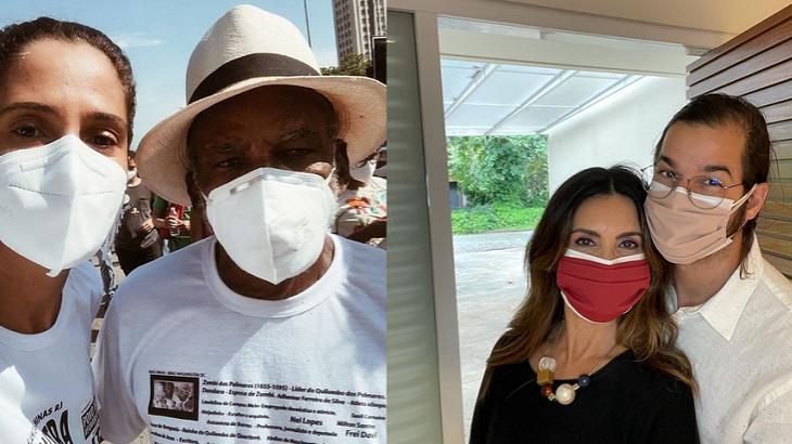 Camila Pitanga e Fátima Bernardes usaram máscara e protestaram contra o Bolsonaro