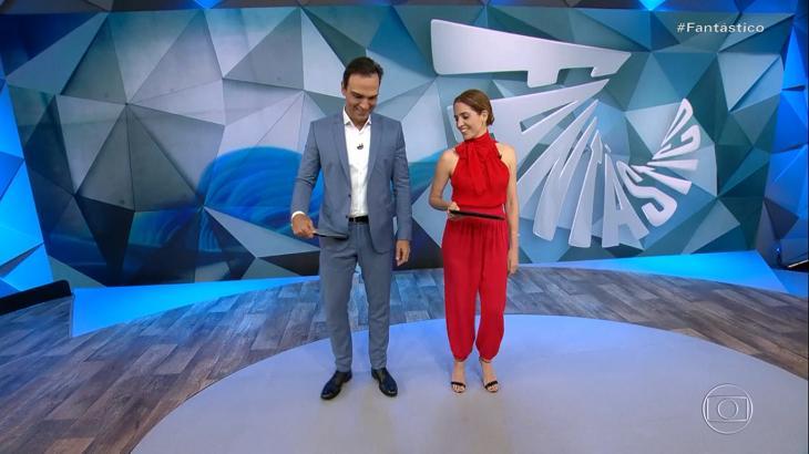 Tadeu Schmidt e Poliana Abritta dançaram ao vivo - Foto: Reprodução/Globo