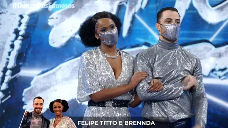 Felipe Titto e Brennda na apresentação da Dança dos Famosos