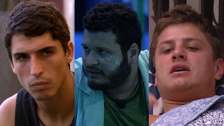 Felipe Prior, Victor Hugo e Lucas durante o BBB20