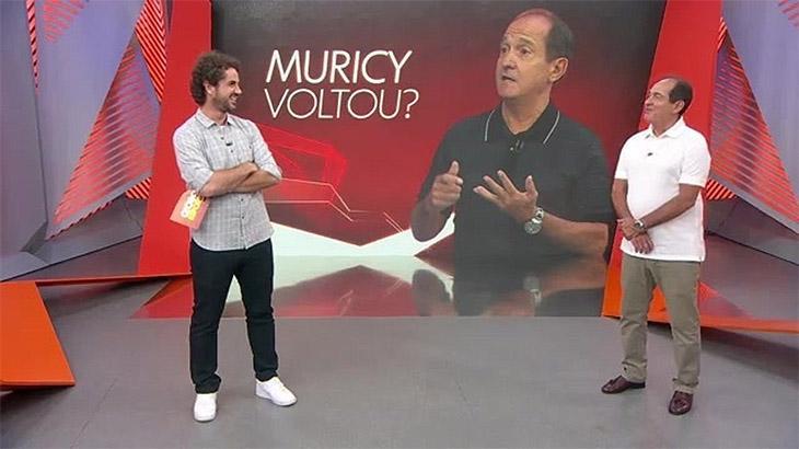 Felipe Andreoli e Muricy Ramalho no Globo Esporte, em dezembro de 2019