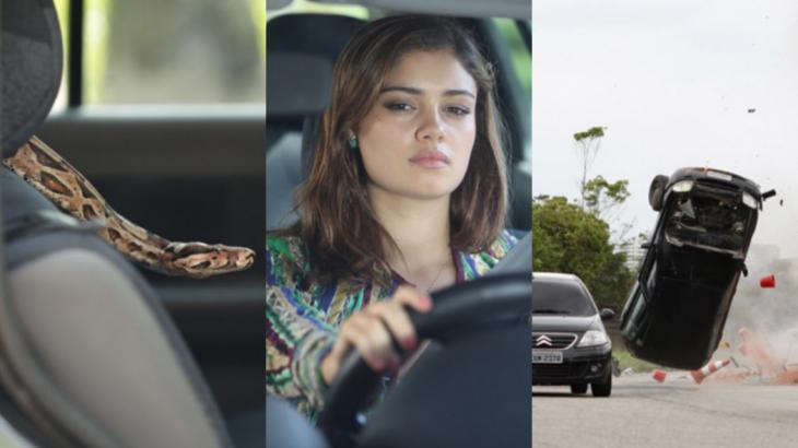 Em Fina Estampa, susto com cobra faz Amália perder o controle da direção e capotar com o carro - Fotos: Reprodução/Globo