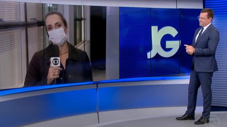 Rodrigo Bocardo no estúdio e Flávia Januzzi em link de máscara