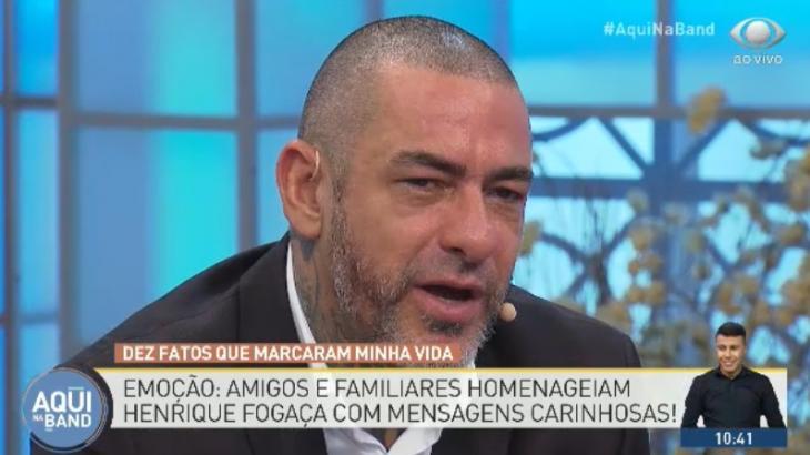 Henrique Fogaça vai às lágrimas com homenagem na Band - Fotos: Reprodução/TV Bandeirantes
