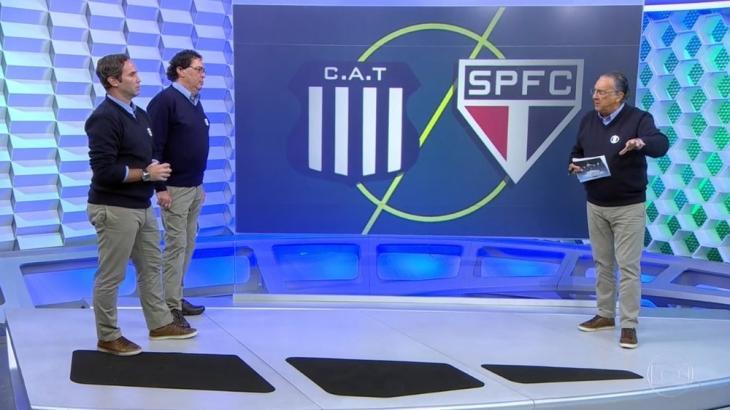Galvão Bueno contou com a companhia de Caio Ribeiro e Casagrande na transmissão - Reprodução/TV Globo