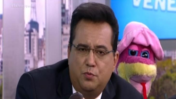 Geraldo Luís durante o quadro A Hora da Venenosa explicou motivo de não ter ido a confraternização do programa. (Reprodução)