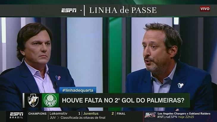 Gian Oddi e Mauro Cézar Pereira no Linha de Passe - Foto: Reprodução/ESPN Brasil