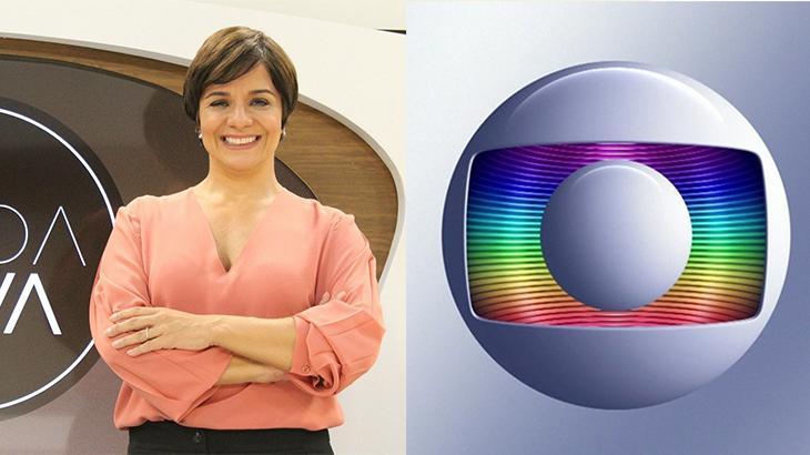 A jornalista Vera Magalhães e o logotipo da Globo em montagem do NaTelinha