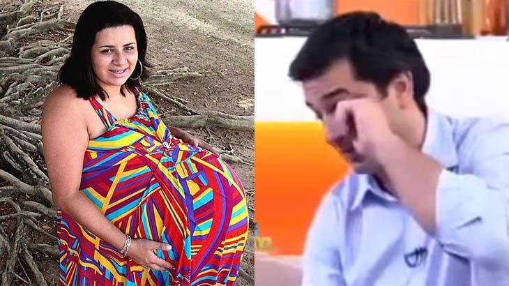 Montagem com a grávida de Taubaté e o apresentador Edu Guedes