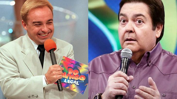 Os apresentadores Gugu Liberato e Fausto Silva na guerra do Ibope entre Globo e SBT