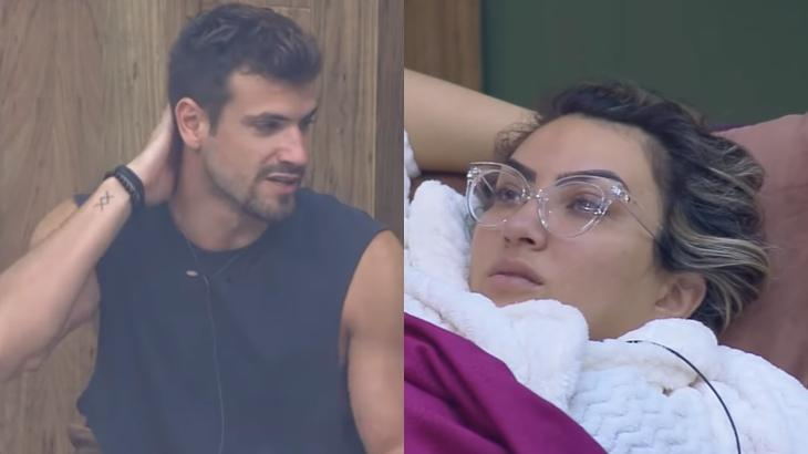 Guilherme Leão e Thayse Teixeira no reality show A Fazenda 11 (Reprodução/Montagem)
