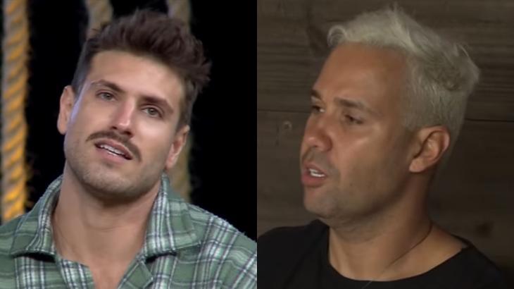Guilherme Rodrigues e Viny Vieira durante o reality show A Fazenda 2019