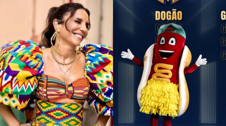 """Montagem de Ivete Sangalo e da fantasia """"dogão""""  do The Masked Singer Brasil"""