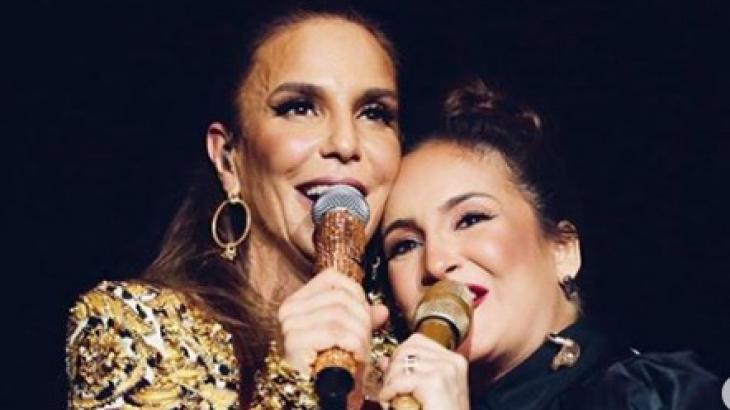 Cláudia Leitte e Ivete Sangalo abraçadas desmentem qualquer rivalidade - Foto: Reprodução