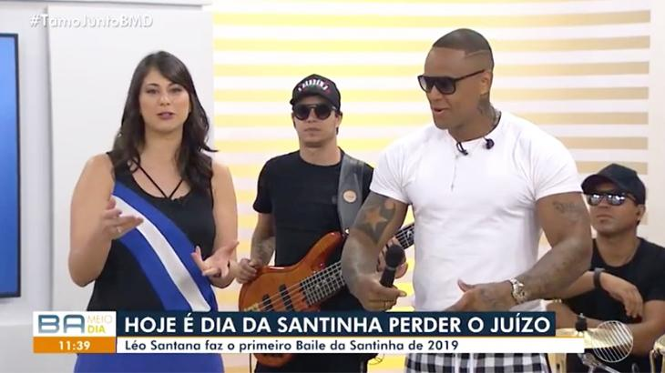 Léo Santana participou do programa para divulgar tradicional baile e percebeu a