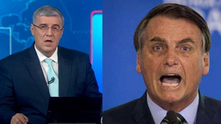 Flávio Fachel na bancada do JN; Bolsonaro de boca aberta irritado
