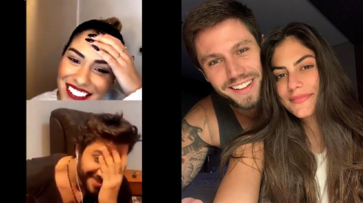Em live, Munik e Renan citaram festa promovida por Jonas enquanto Mari esteve no BBB20 - Fotos: Reprodução