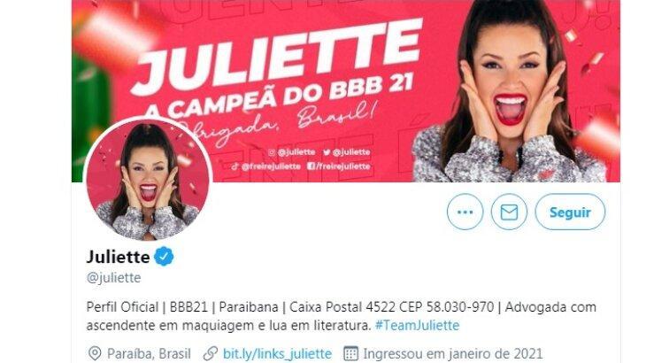 Capa do perfil de Juliette no Twitter, com o selo de verificação
