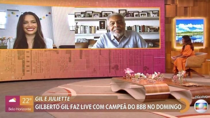 Juliette e Gilberto Gil participam do programa Encontro com Fátima Bernardes de forma virtual
