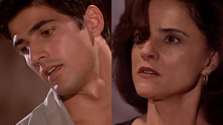 Reynaldo Gianecchini leva tapa na cara de Marieta Severo em cena da novela Laços de Família, em reprise na Globo