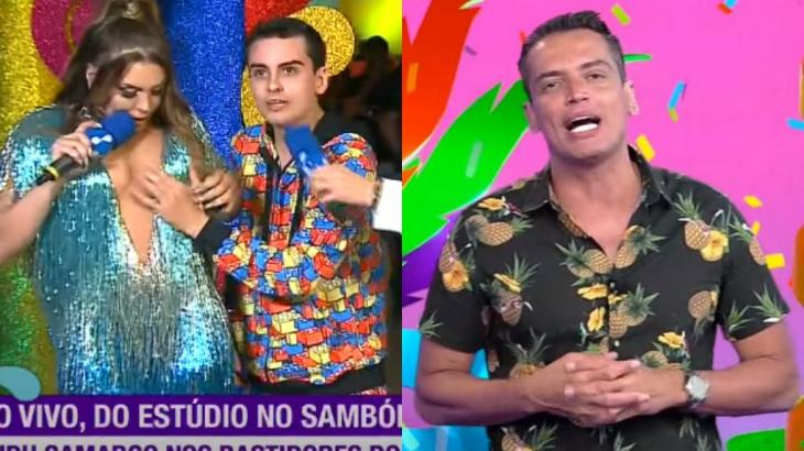 Dudu Camargo assediou Simony durante cobertura do Carnaval da RedeTV, comandada por Leo Dias - RedeTV/Reprodução
